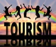 Sylwetek ludzie skacze nad słowo turystyką Obrazy Stock