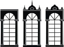 sylwetek średniowieczni okno Zdjęcia Stock