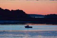 Sylwetka łódź rybacka w Portland, Maine zdjęcia stock