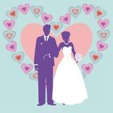Sylwetka ślub para royalty ilustracja