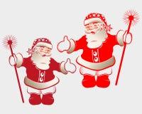 Sylwetka Święty Mikołaj c kij Zdjęcia Stock