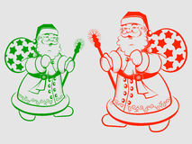 Sylwetka Święty Mikołaj z kijem Zdjęcia Royalty Free