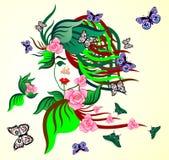 Sylwetka żeńska twarz od naturalnych elementów Zdjęcie Stock