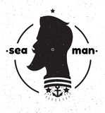 Sylwetka żeglarza głowa Czarny i biały żeglarz głowa l ilustracja wektor