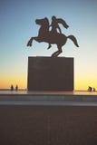 Sylwetka Aleksander Wielka statua przy zmierzchem thessaloniki Zdjęcie Royalty Free