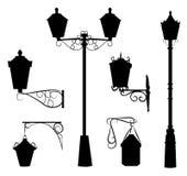 Sylwetka antykwarskie plenerowe lampy royalty ilustracja