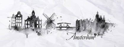 Sylwetka atrament Amsterdam Zdjęcie Stock