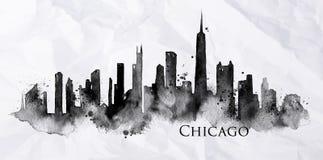 Sylwetka atrament Chicago royalty ilustracja