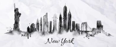 Sylwetka atrament Nowy York ilustracji