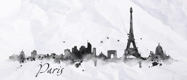 Sylwetka atrament Paryż royalty ilustracja