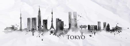 Sylwetka atrament Tokio ilustracja wektor