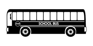 Sylwetka autobusu szkolnego ilustracyjny wektorowy czarny kolor royalty ilustracja