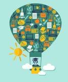 Sylwetka balon z edukacj ikonami Obrazy Stock