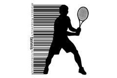 Sylwetka barcode i gracz w tenisa Fotografia Royalty Free