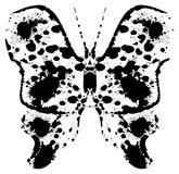 Sylwetka batterfly maluję kleksami royalty ilustracja
