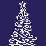 Sylwetka biała świerczyna z curlicues na błękitnym tle malował w kwadratach, piksle ilustracja wektor