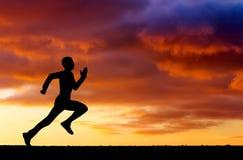 Sylwetka bieg mężczyzna Zdjęcie Royalty Free
