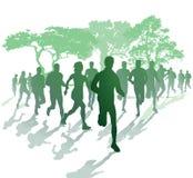 Sylwetka biegacze w parku ilustracja wektor
