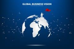 Sylwetka biznesmen z chorągwianą pozycją na światowej mapie ilustracji