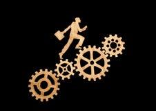 Sylwetka biznesmen z teczką iść sukces przez przekładnia setu Obraz Stock
