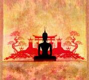 Sylwetka Buddha, azjata krajobraz w tle ilustracji