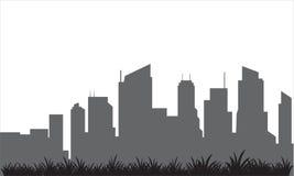 Sylwetka budynek i gazon ilustracja wektor