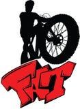 Sylwetka cyklista na grubym bicyklu na tylni whee ilustracji