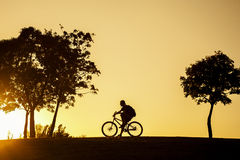 Sylwetka cyklisty obsiadanie na jego rowerze przy zmierzchem Fotografia Stock