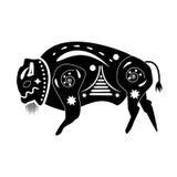 Sylwetka czerń - biały byk, bizon, żubr, opisany dowcip Obrazy Royalty Free