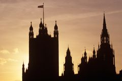 Sylwetka Domy Parlament, Londyn Zdjęcie Royalty Free