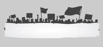 Sylwetka doping lub protestujący tłum royalty ilustracja