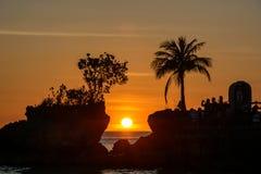 Sylwetka drzewka palmowe przy zmierzchem na wyspie Boracay, Filipiny Obrazy Royalty Free
