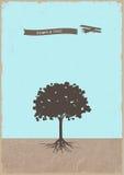 Sylwetka drzewny i stary samolot na grunge papierze Zdjęcie Stock
