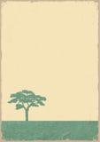 Sylwetka drzewo na grunge starym papierze Obraz Royalty Free