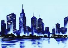 Sylwetka dużej nocy oświetleniowy miasto Ręka rysująca na papierowej akwareli ilustracji royalty ilustracja
