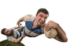 Sylwetka dwa caucasian rugby mężczyzna gracz odizolowywający na białym tle obraz royalty free