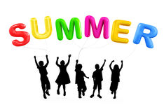 Sylwetka dzieci Bawić się z lato balonami Obrazy Stock