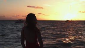 Sylwetka dziewczyna na tło zmierzchu zdjęcie wideo