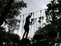 Sylwetka dziewczyna w Treetop przeszkody kursie Obrazy Royalty Free