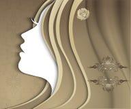 Sylwetka dziewczyna z luksusowym włosy ilustracji