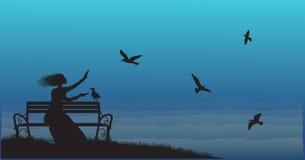 Sylwetka dziewczyny obsiadanie na ławce blisko morza z wzrostem i karmi dennych frajerów, ilustracji