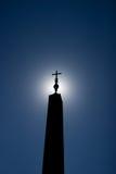 Sylwetka Egipski obelisk w świętego Peter ` s kwadracie Rzym Ital Obraz Royalty Free