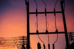 Sylwetka Elektryczny słup Fotografia Royalty Free
