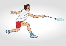 Sylwetka Fachowy Badminton gracz Obrazy Royalty Free