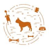 Sylwetka francuski buldog, puchar, kość, muśnięcie, grępla, bawi się ilustracja wektor