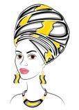 Sylwetka g?owa s?odka dama Jaskrawa chusta i turban wi??emy na g?owie afroameryka?ska dziewczyna Kobieta jest ilustracji