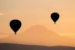 Sylwetka gorące powietrze balony Obrazy Stock