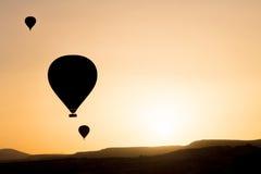 Sylwetka gorące powietrze balony Zdjęcia Royalty Free