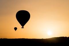 Sylwetka gorące powietrze balony Obraz Royalty Free