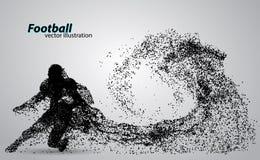 Sylwetka gracz futbolu od cząsteczki rugby amerykański piłkarz Zdjęcie Royalty Free